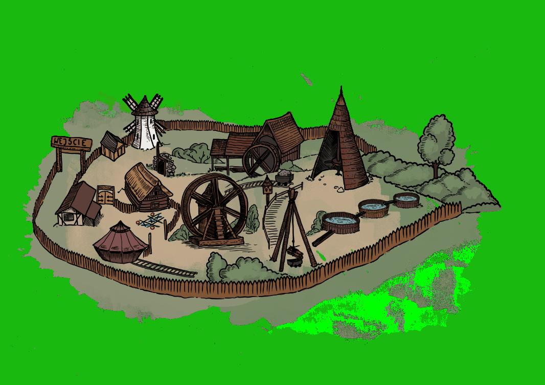 Średniowieczna Osada Górnicza - rysunek